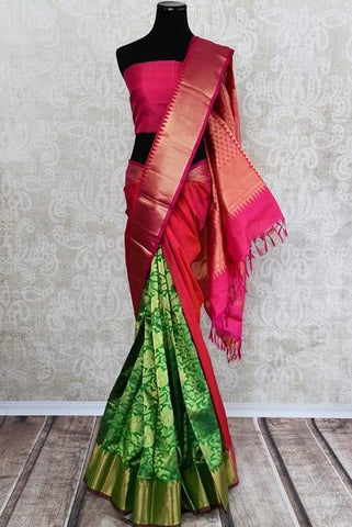 Traditional Kanjivaram silk saree - usual choice for South-Indian brides