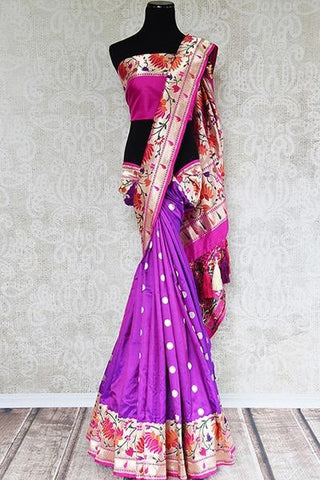 Purple Priyanka Chopra paithani saree gives the glamour to your Bollywood wedding