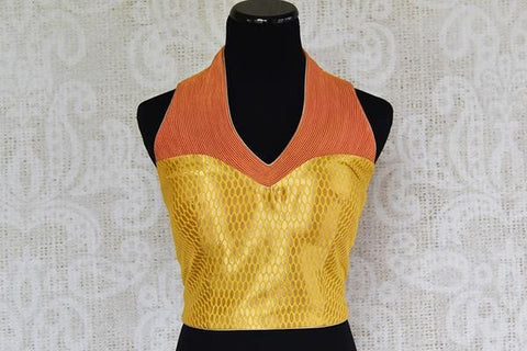 Pure Elegance Yellow and Orange Sleeveless Silk Halter Neck Blouse