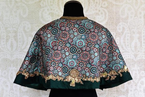 Pure Elegance Multi Color Silk Cape Style Blouse with Embroidery