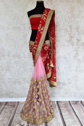 Bridal lehenga saree - favorite for North-Indian brides