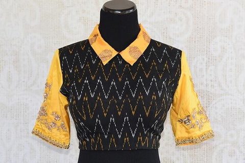 Pure Elegance Shirt Collar Blouse - Yellow Banarasi Sleeves and Collar with Embroidery and Black Silk Ikkat Printed Body