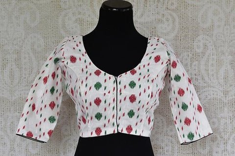 Pure Elegance White Cotton Printed Blouse with Three Fourth Sleeve
