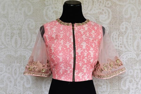 Pure Elegance Designer Pink Bell Sleeve Blouse with Sheer Sleeves