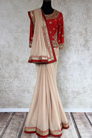 Pure Elegance Red Koti Style Blouse with Heavy Embroidery - Ideal for Wedding