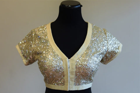 Pure Elegance Silver Blouse with Sequin Design