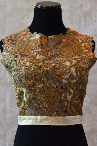 Pure Elegance Golden Crop Top Blouse with Heavy Embroidery