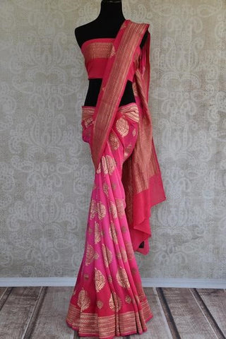 Pink Georgette Banarasi Saree - Perfect for summer Indian wedding