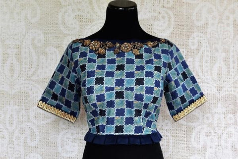 Pure Elegance Silk Boat Neck Blouse with Embroidery