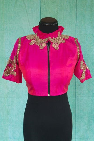 Pure Elegance Pink Ruffled Neck Designer Silk Blouse with Embroidery in Sleeve and Neck