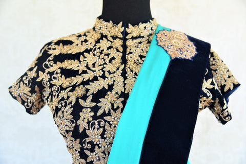 Pure Elegance Heavy Embroidery Neckline Blouse on Velvet