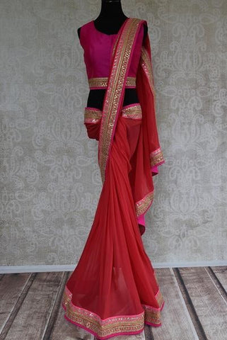 Red embroidered chiffon saree - great for Indian engagement