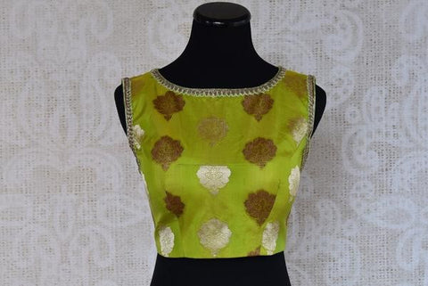 Pure Elegance Green Banarasi Sleeveless Blouse