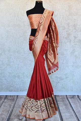 Red and off white banarasi silk saree - a must have for a Bengali bride