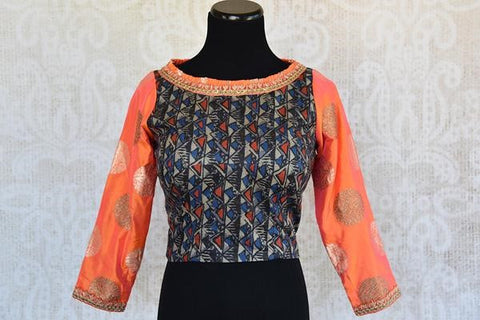 Pure Elegance Orange Banarasi Full Sleeve Blouse with Embroidery in its Silk Printed Body