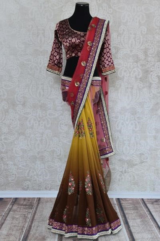 Shaded two-tone yellow and brown georgette saree with embroidery - perfect for Indian wedding reception