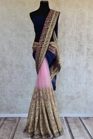 Pink net and navy blue velvet saree, perfectly embellished for Indian cocktail wedding dinner