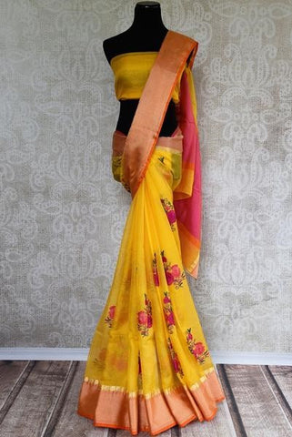 Classic yellow maheswari silk saree - ideal dinner attire for newly wed Indian bride for wedding dinner
