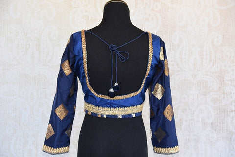 Pure Elegance Navy Blue Banarasi Saree Blouse with Latkans