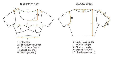 Blouse Measurement Chart with Instruction