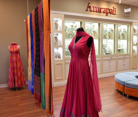 Pure Elegance clothing store in Edison, New Jersey, USA. The best place to buy designer sarees, Indian saree blouse, Indian bridal dresses, Indian wedding lehenga, Indian designer salwar kameez and Indian gold bridal jewelry in USA - store Amrapali jewelry