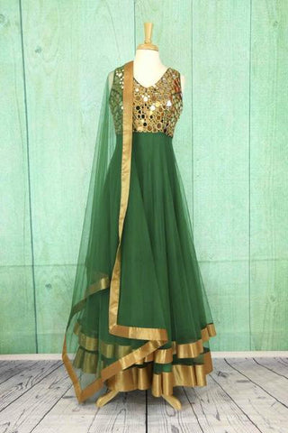 Green Anarkali Suit with Mirror Work