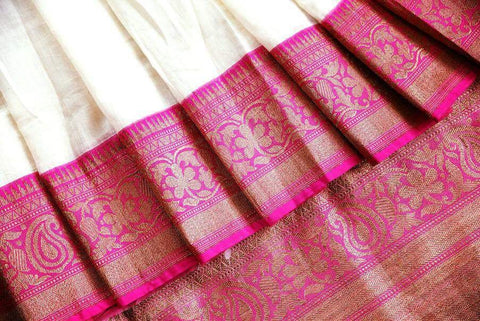 Pure Elegance Banarasi Saree - White and Red