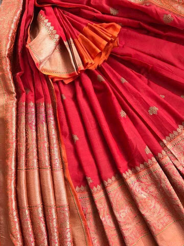 Pure Elegance Banarasi Silk Saree - Classic Red and Gold