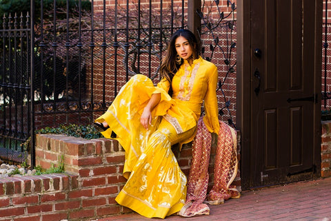 Yellow Embroidered Garara Suit with Pink Dupatta