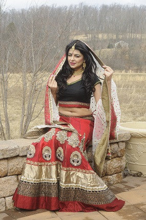Bridal lehenga with intricate motif embroidery