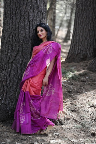 Matka Saree with Embroidered Blouse