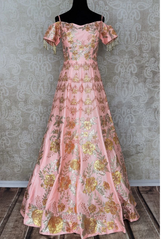 Pink indo-western gown on sale