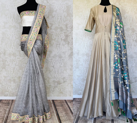 Grey saree and suit on sale