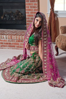 Multi color wedding lehenga
