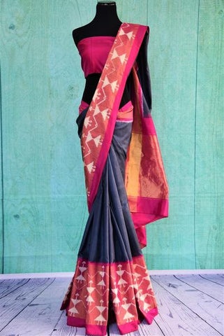 Grey and Pink Warli Inspired Saree