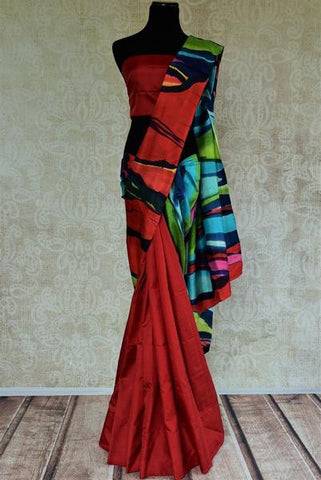 Red Hand Paint Saree