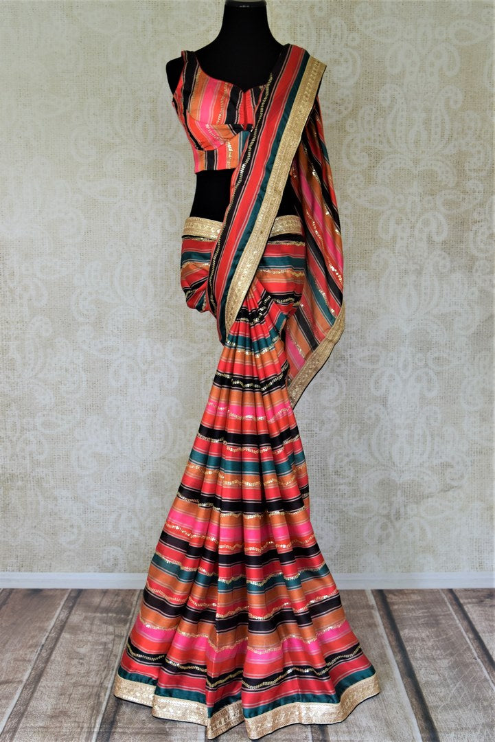 Buy gorgeous multicolor crepe silk designer saree online in USA with pre-stitched blouse. Make a fashion statement at weddings with stunning designer sarees, embroidered sarees with blouse, wedding sarees, handloom sarees from Pure Elegance Indian fashion store in USA.-full view