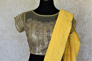 Shop charming yellow Lucknowi embroidery georgette sari online in USA with embroidered saree blouse. Look fashionable at parties and special occasions in contemporary sarees, designer sarees with blouse, embroidered saris from Pure Elegance Indian luxury clothing store in USA.-blouse pallu