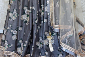 Shop grey and cream printed embroidered lehenga online in USA with dupatta. Get ready to dazzle on weddings and special occasions with an exquisite variety of Indian designer clothes from Pure Elegance Indian clothing store in USA. We have a splendid collection of bridal lehengas, designer sarees, Anarkali suits to make your look absolutely one of kind.-bottom