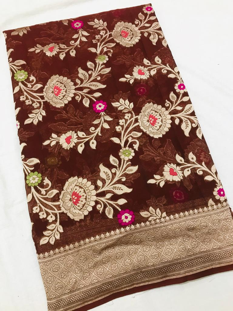 Buy stunning chocolate brown georgette Banarasi saree online in USA. Make a fashion statement at weddings with stunning designer sarees, embroidered sarees with blouse, wedding sarees, handloom sarees from Pure Elegance Indian fashion store in USA.-full view