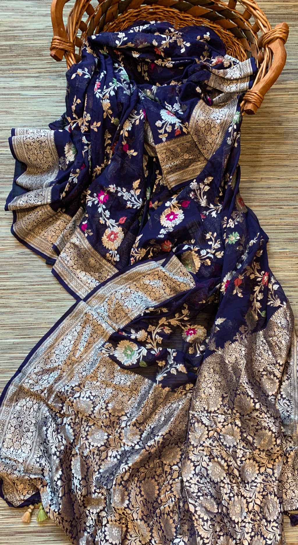 Shop beautiful navy georgette Banarasi saree online in USA. Make a fashion statement at weddings with stunning designer sarees, embroidered sarees with blouse, wedding sarees, handloom sarees from Pure Elegance Indian fashion store in USA.-front
