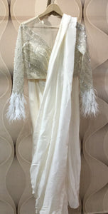 90A532-RO White Pre-Stitched Saree With Blouse