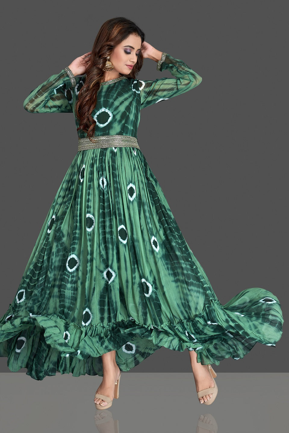 Buy stunning green bandhej georgette one piece dress online in USA. Elevate your Indian style with beautiful designer dresses, Indowestern outfits, designer salwar suits from Pure Elegance Indian fashion store in USA.-full view