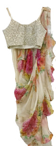 90A516-RO Floral Ruffle Saree With Embroidered Blouse
