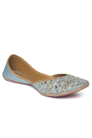 Shop pale blue sequin, bead and mirror embroidery jutti online in USA. Grab beautiful designer footwear and ethnic juttis in USA from Pure Elegance Indian fashion store in USA. Enhance your ethnic attires with exquisite accessories available on our online store.-side