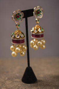 ff6f400d6 20A155 Silver Gold Plated Earrings with Floraltop, Pearl & Multi-stone