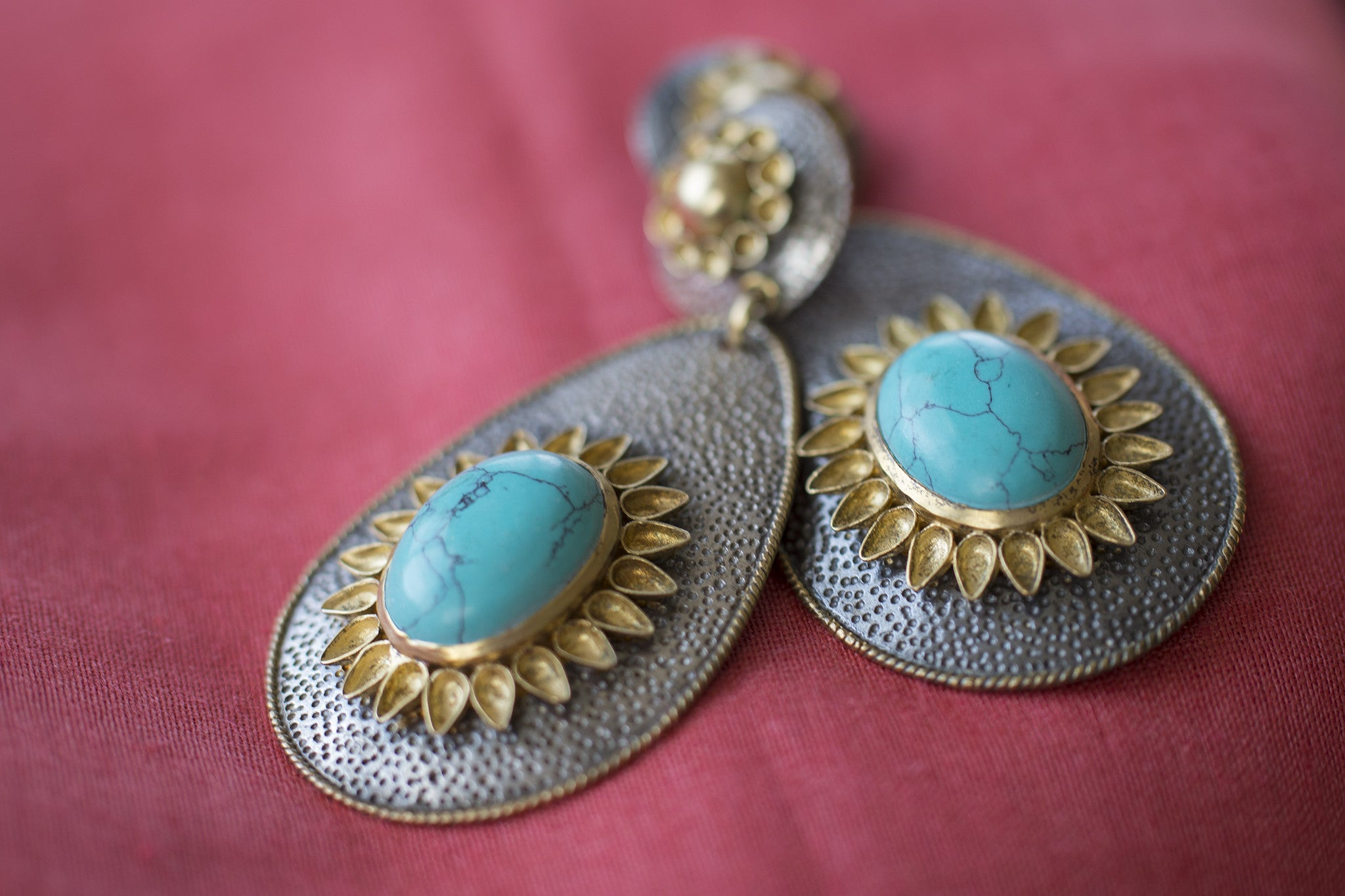 20A156 Silver Gold Plated Amrapali Earrings in Two Tone with Turquoise