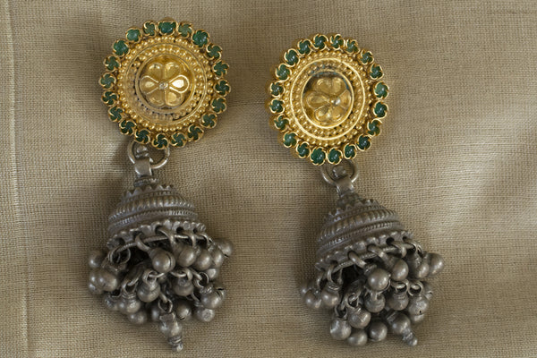 20a168-silver-gold-plated-amrapali-earrings-two-tone-chandelier-green-stone-floral-top