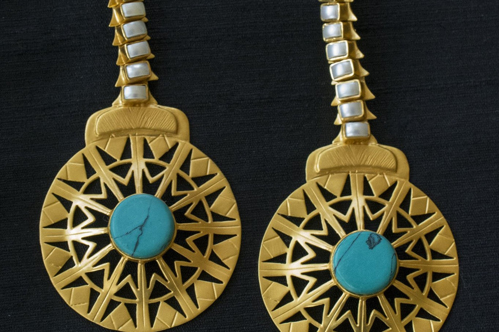 20A175 Silver Gold Plated Wheel Cut-work Earrings with Pearl and Turquoise