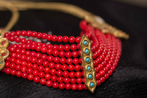 20A278 Silver Gold Plated Necklace with Red Bead and Multi Stone